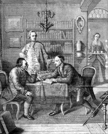 Oppenheim_Moritz Daniel 1800 - 1882 Moses Mendelssohn discutant avec Gotthold Ephraim Lessing 1860